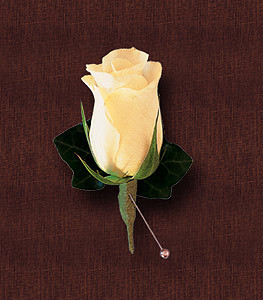 White Rose and Ivy Boutonniere