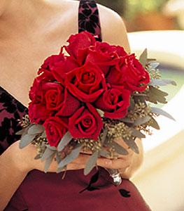 Velvet Red Roses Nosegay