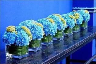 Contemporary Blue Hydrangea Vase
