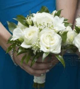 White velvet Bride's maid bouquet