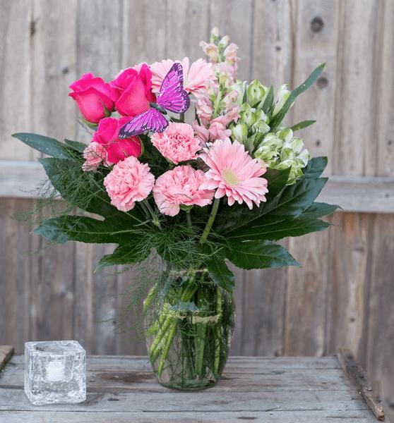 Pink Butterfly Vase Ladybug Florist