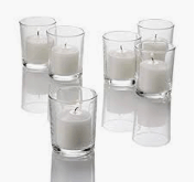 Straight sided Votive Candles and holders