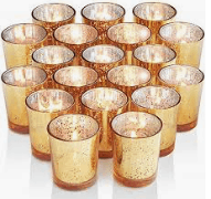 Gold Mercury Glass Votive Candles and holders